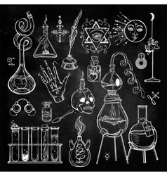 Set of trendy alchemy symbols vector