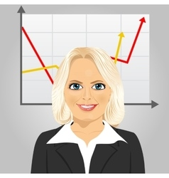 Senior businesswoman with rising arrow vector