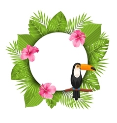 Clean card with pink roses mallow toucan bird vector