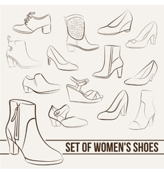 Set in the of women s shoes painted lines vector image