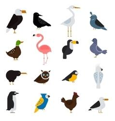 Birds set eagle parrot vector