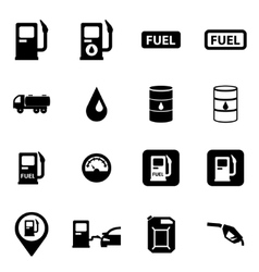 Black gas station icon set vector