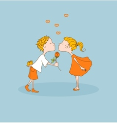 Boy kisses girl gives flower Valentines day vector image vector image