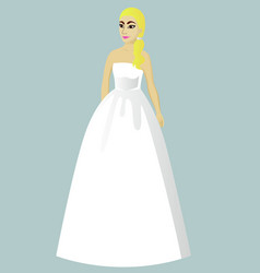 Bride in princess wedding dress vector