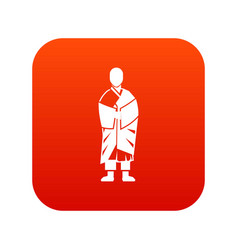 buddhist monk icon digital red vector image vector image