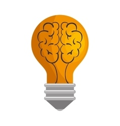 Bulb brain isolated icon vector