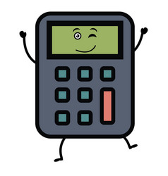 Calculator math kawaii character vector