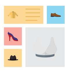 Flat icon clothes set of heeled shoe panama vector