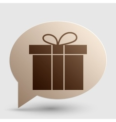 Gift box sign brown gradient icon on bubble with vector