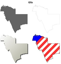 Gila county arizona outline map set vector