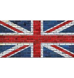 Grunge flag of great britain on a brick wall vector