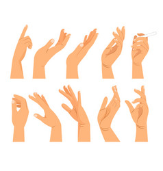 Hand gestures in different positions vector