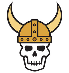 Human skull and viking helmet vector