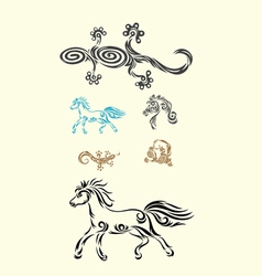 Lizard and horse vector image vector image