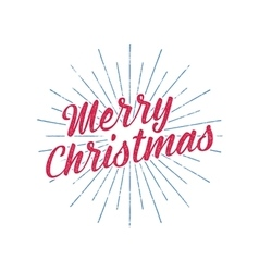 Merry christmas typography label retro photo vector