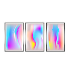 metallic holographic background set vector image