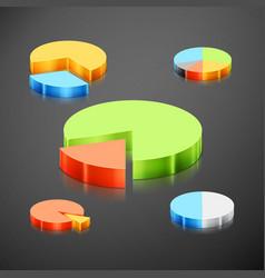 metallic infographics pie graph set vector image