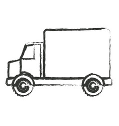 Monochrome blurred silhouette of truck with wagon vector