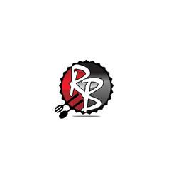 Restaurant fork spoon letter r b vector