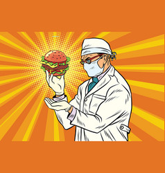 Scientist nutritionist and burger fast food vector