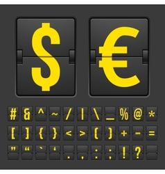 Scoreboard symbols alphabet mechanical panel vector image