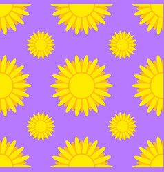 seamless pattern of yellow suns on a purple vector image vector image