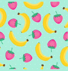 seamless pattern with yellow bananas and pink vector image vector image