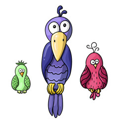 set of cute cartoon colored birds vector image