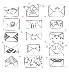 Set of hand drawn mailing envelopes Communication vector image vector image