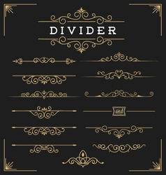 Set of horizontal flourishes divider vector