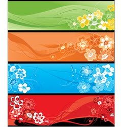 summer flowers horizontal banners vector image vector image