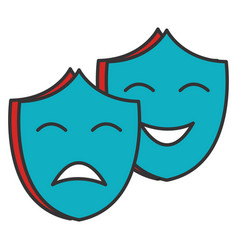 Theater masks isolated icon vector