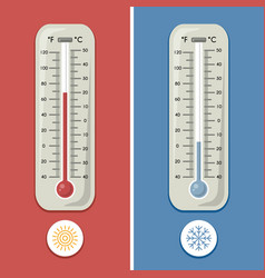 Thermometer of celsius and fahrenheit meteorology vector