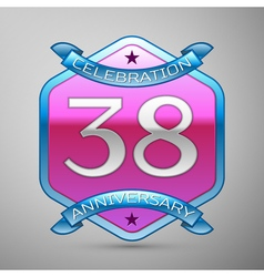 Thirty eight years anniversary celebration silver vector