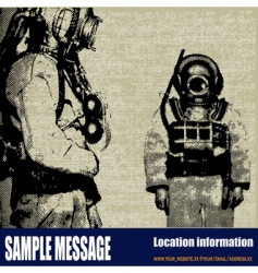 Deep sea diver background vector