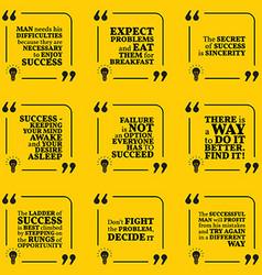 Set of motivational quotes about achievement vector