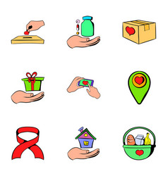 Helping icons set cartoon style vector