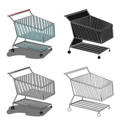 shopping cart icon in cartoon style isolated on vector image
