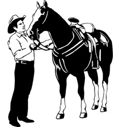 Dr00118 horse and cowboy vector