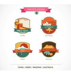 World cities labels - sydney great wall fuji vector