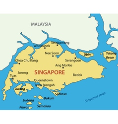 Republic of singapore - map vector