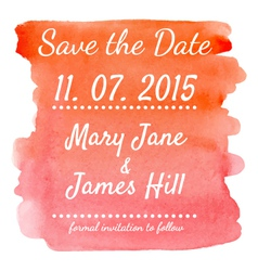 Save the Date with watercolor background vector image