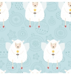 Christmas background with sheep vector
