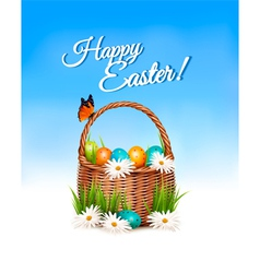 Happy easter background basket with eggs and a vector