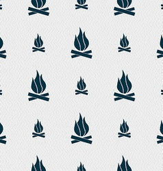 A fire icon sign Seamless pattern with geometric vector image