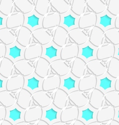 White 3d perforated layered with blue hexagons vector