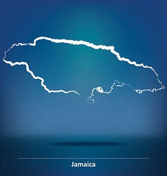 Doodle map of jamaica vector