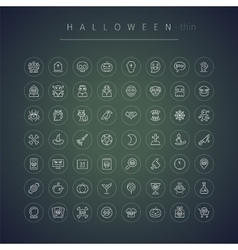 Halloween thin rounded icons set vector