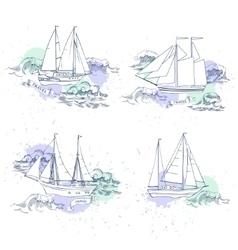 Sea travel elements set vector