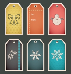 Colorful holiday winter gift tag template vector image